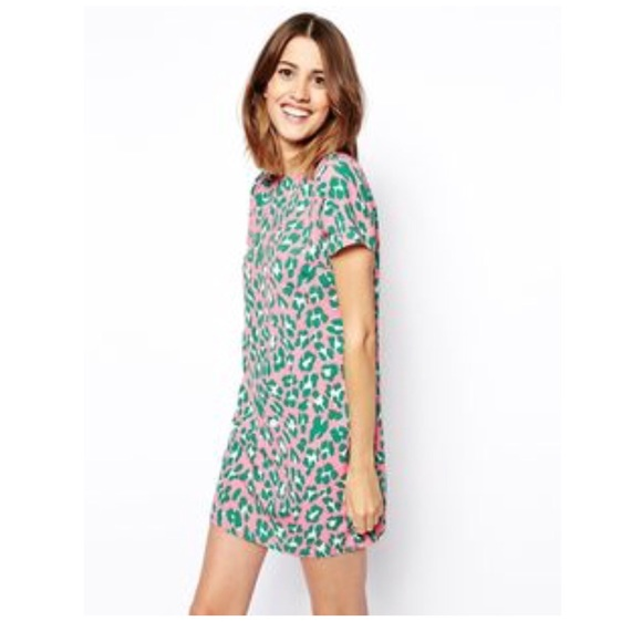 ASOS Dresses & Skirts - ASOS Green and Pastel Pink Leopard Shift Dress